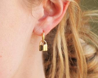 Padlock Hoop Earrings - Aura Collection