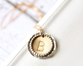 Gold Initial Necklace, Personalized Necklace, Hand Stamped Gold Necklace, Hand Stamped Necklace, Bridesmaids Gift, Monogram necklace
