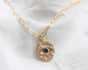 Blue Evil eye Charm Necklace on Drawn Chain DN211