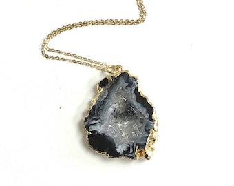 Stone Necklace, Petite Agate Necklace, Druzy Necklace, The Silver Wren, Black Geode Slice Necklace, Boho Necklace, Layer Necklace