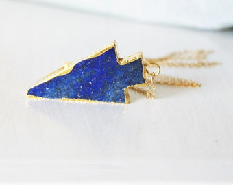 FLASH SALE, Long Necklace, Lapis Arrowhead Necklace, Long Layering Necklace, Long Pendant Necklace,  Lapis Necklace, Boho Necklace