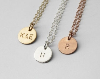 Petite Initial Necklace, 1 2 or 3  Charms