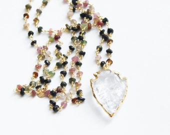 Arrowhead Pendant Rosary Necklace