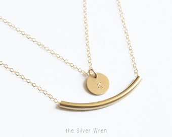 Layered Necklace Set of 2 Silver or Gold Initial Necklace, Personalized Necklace, Gold Bar Necklace, Everyday Necklace, Layering Necklaces