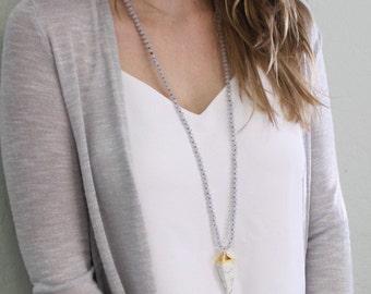 Long Pendant Necklace - White Pyramid Pendant