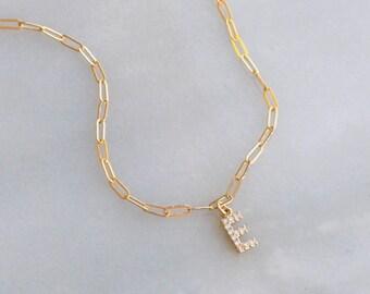 Dainty CZ Initial Charm Necklace