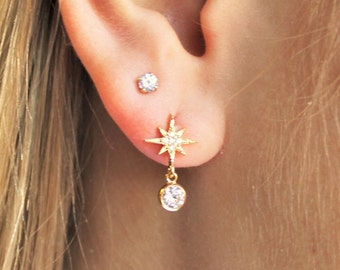 North Star CZ Drop Earrings