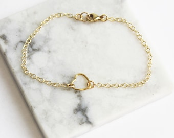 Dainty Gold Bracelet, Floating Heart, 14kt Gold Filled, Gift for Her