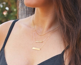 Satellite, Petite and Dainty Bar Layered Necklace Set