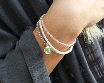 Tiny Crystal Stacking Bracelets with a Zodiac Charm
