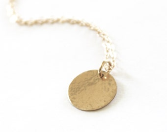 Simple Gold Necklace/ Silver, Rose or Gold Necklace/ Minimalist Necklace/ Hammered Disc Necklace/ Layering Necklace/ Bridesmaids Necklace