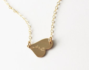 Side Heart Initial Necklace