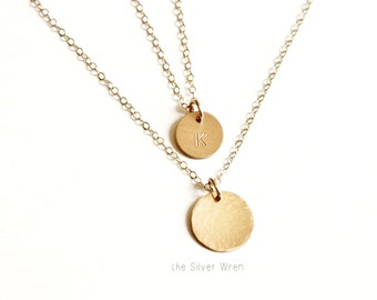 Petite & Medium Disc Layered Necklace Set