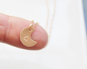 Tiny Moon Disc Necklace