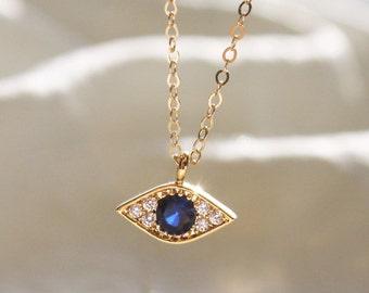 Tiny Pave Evil Eye Necklace DN225