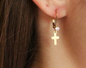 Tiny Cross & CZ Dangle Earrings