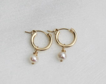 Cara - Pearl Hoop Earrings