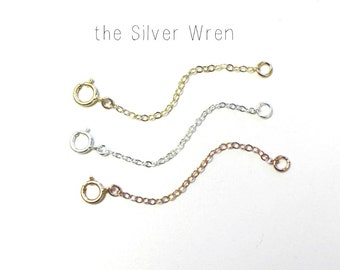 Necklace Extender - Fixed Length - Delicate chain in sterling silver, rose gold