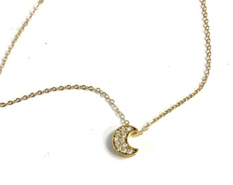 Tiny Pave Moon Necklace