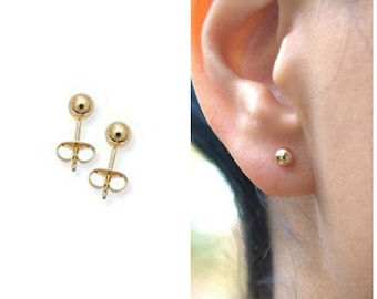 Chelsea - Gold Ball Stud Earrings
