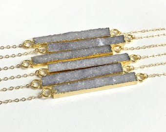 Druzy Horizontal Bar Necklace