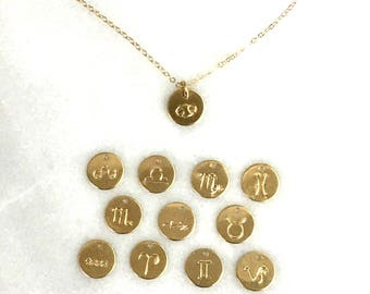 TINY Zodiac Necklace, Zodiac Jewelry, Silver, Rose or Gold Necklace, Astrological Sign, Birthday Gift, Dainty Jewelry, Charm Necklace