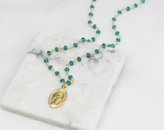Medal Necklace, Miraculous Medal Charm Necklace, Religious Gifts, Baptism, Confirmation, Religious Jewelry, Necklaces for Women Gifts