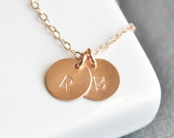 Petite Initial Rose Gold Necklace