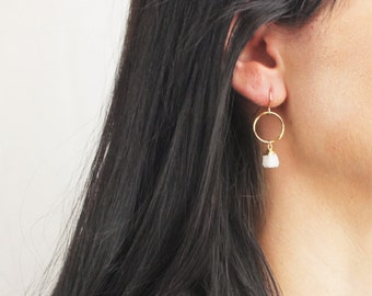 Allie - Raw Crystal Dangle Earrings