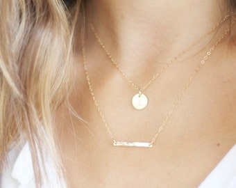 Gold Necklace, Double Strand Initial Necklace, Silver or Gold Layered Necklace, Layered Necklace set of 2, Personalized Necklace, Gold Bar