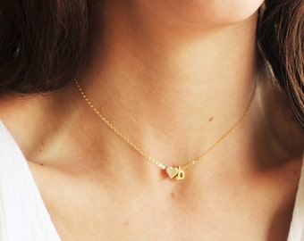 Tiny Slide Initial & Heart Necklace - Gold or Silver