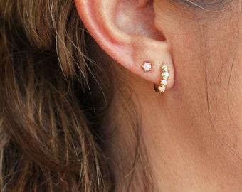 Tiny Opal Hoops & Stud Earrings Set of 2