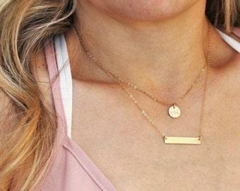 Petite Disc & Dainty Bar Layered Necklace Set