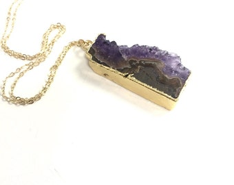 Long Amethyst Slice Necklace