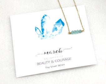 Birthday Gifts, Gifts Women, March Birthday, March Birthstone, Aquamarine, The Silver Wren, Jewelry, Birthstone Necklace, Gift for Her
