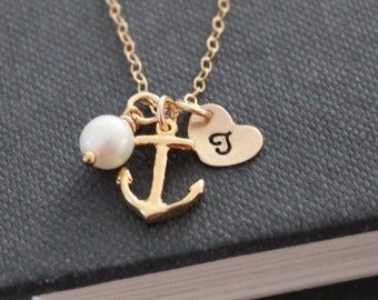 Anchor, Pearl and Heart Initial Necklace