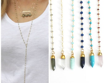 Long Lariat Rosary Necklace