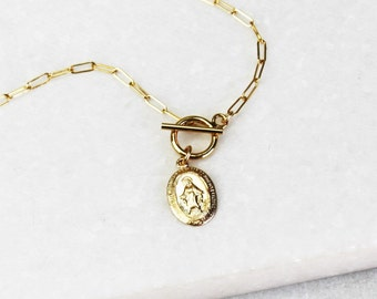 Toggle Necklace with Medallion