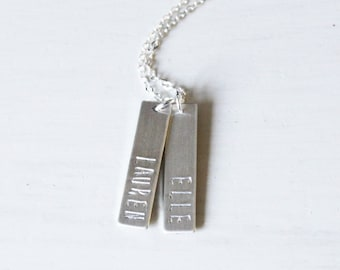 Custom Name Necklace, 1,2, or 3 Personalized Bar Necklace, Silver, Rose, or Gold Bar Necklace, Personalized Necklace, Vertical Bar Necklace