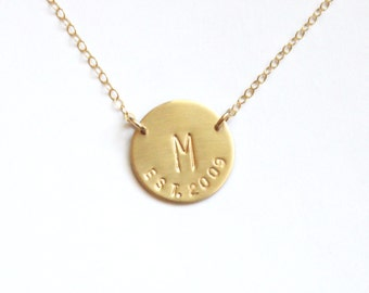Initial with Est. Year, Wedding Necklace or New Mom Gift