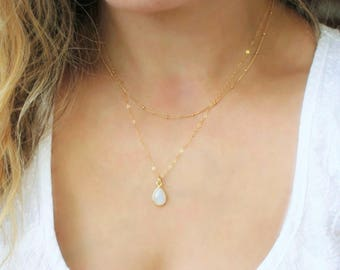Charm Necklace, Dainty Gem Necklace, Stone necklace, Gold Necklace, Gemstone Jewelry, Bridesmaid Gifts, Layering Necklace, Dainty Jewelry