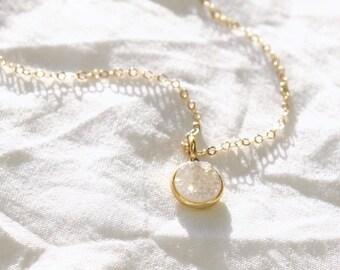 Tiny White Druzy Necklace