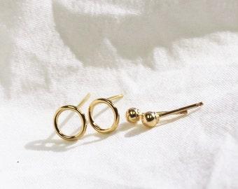 Set of 2 Earrings - Ball & Open Circle Gold Earrings