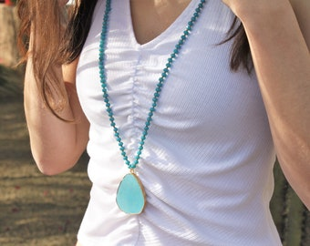 Long Turquoise Pendant & Beaded Necklace