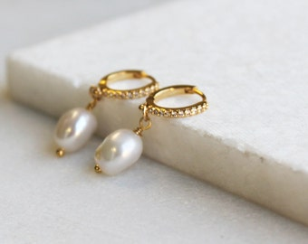 Pearl & CZ Huggie Hoop Earrings - Aura Collection