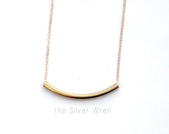 Simple Minimal Necklace, Silver or Gold Necklace, Curved Bar Necklace, Dainty Necklace, Gift for Her, Layering Necklace, Everyday Jewelry