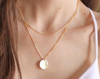 Box Chain & Medium Disc Layered Necklace Set