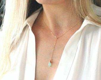 Dainty Short Lariat Necklace with Gemstone Spike