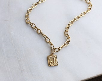 Chunky Chain Rectangle Initial Necklace - Aura Collection