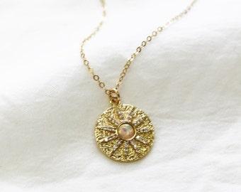 Opal Sun Medallion Necklace - Aura Collection